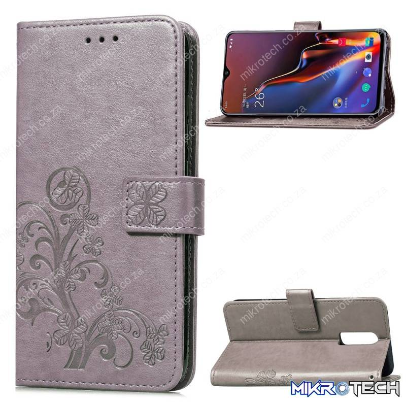 Lucky Clover Pressed Flowers Pattern Leather Case for OnePlus 6T, with Holder & Card Slots & Wallet & Hand Strap