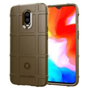 Shockproof Protector Cover Full Coverage Silicone Case for OnePlus 6T(Brown)