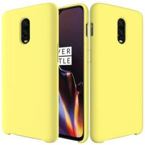 Solid Color Liquid Silicone Dropproof Protective Case for One Plus 6T (Yellow)