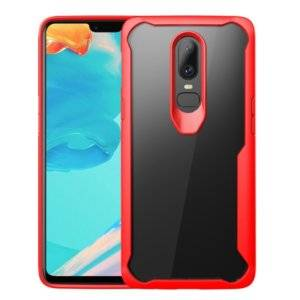 Transparent PC + TPU Full Coverage Shockproof Protective Case for OnePlus 6 (Red)