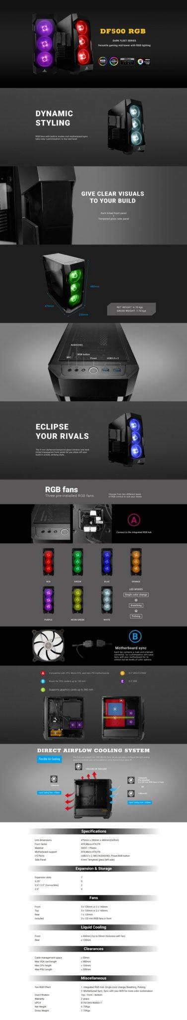 Antec DF 500 RGB Window (GPU 380mm) ATX| Micro ATX|ITX Gaming Chassis Black