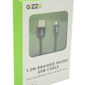GIZZU Micro 1.2m USB Braided Cable Black