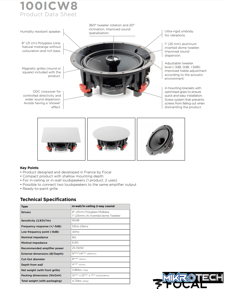 Focal 100 ICW8 In-Wall/In-Ceiling 2-way Coaxial Speakers Technical Specifications