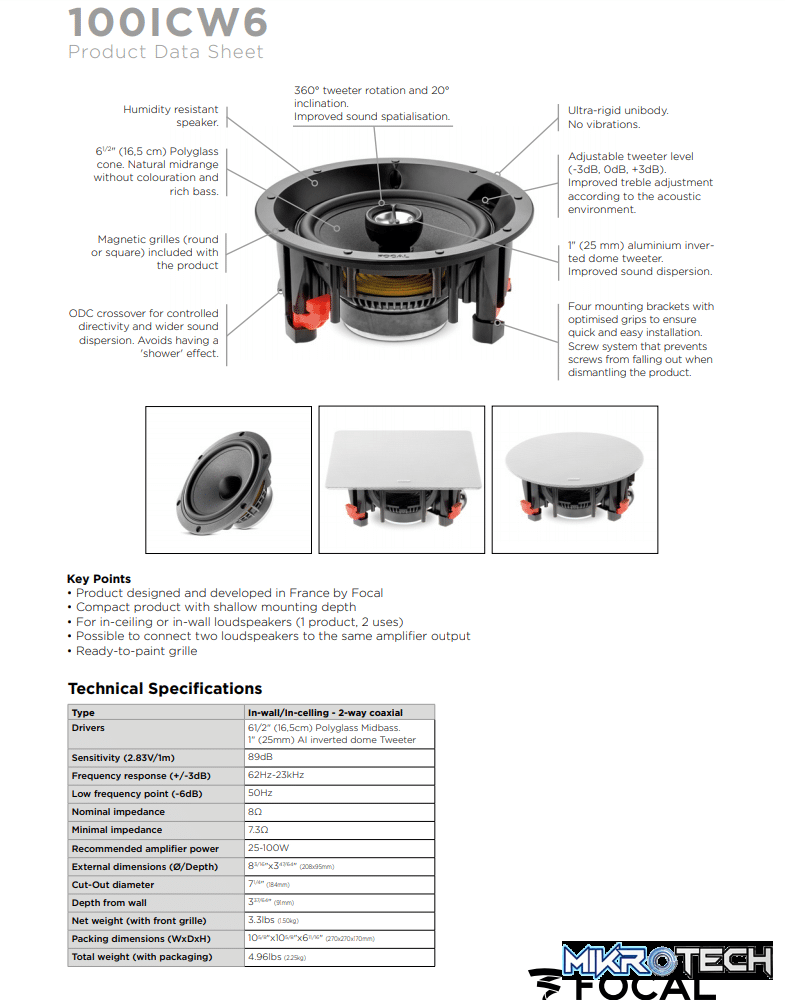 Focal 100 ICW6 In-Wall/In-ceiling 2-way Coaxial Speakers