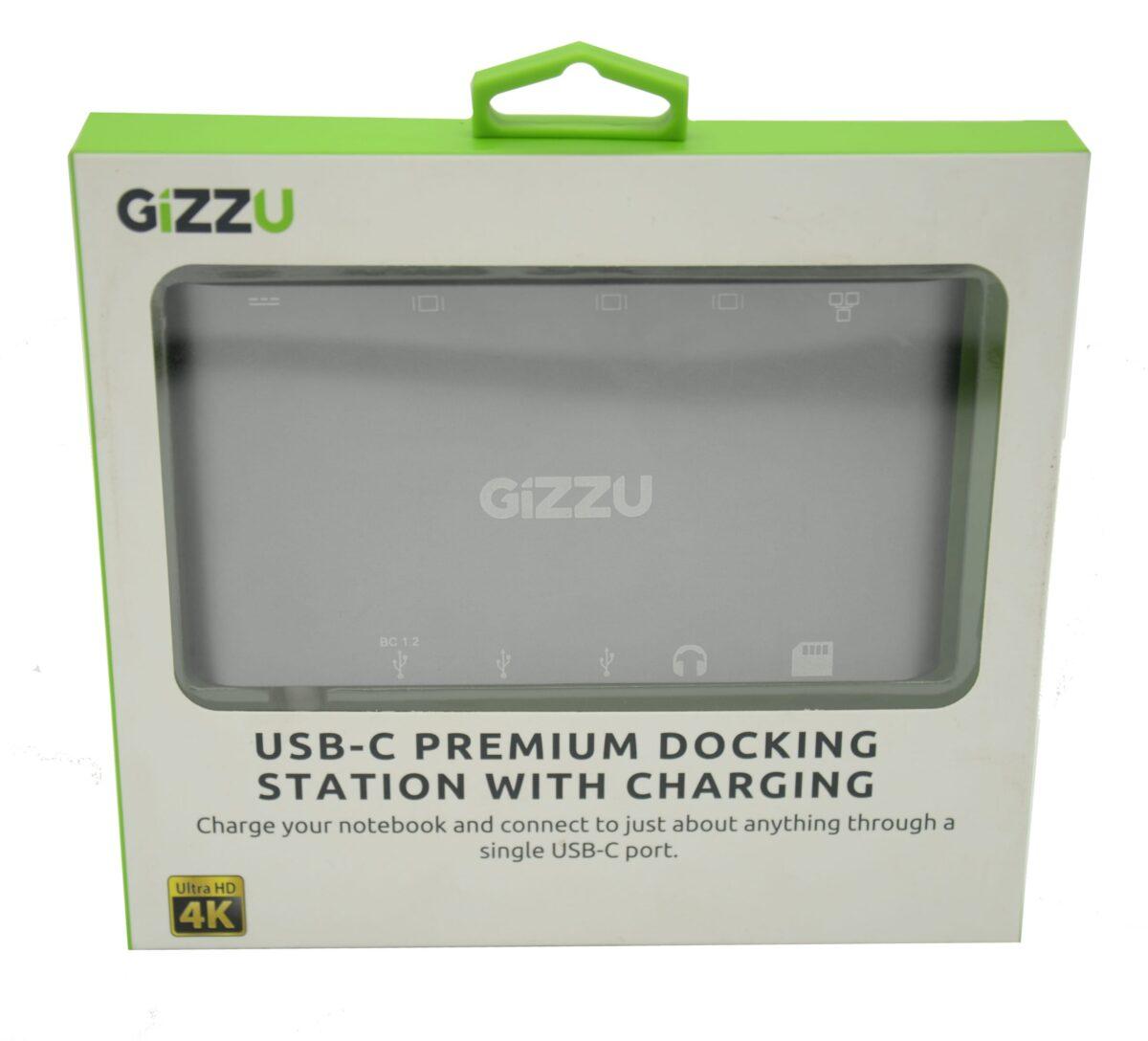 Gizzu USB-C USB3.0/Mini DP/HDMI/VGA/GBE/M SD Dock White