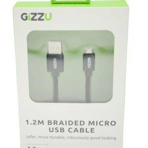 Gizzu Micro 1.2m USB Braided Cable Black