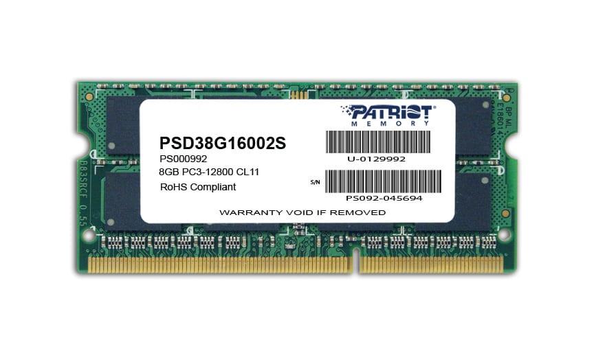 Patriot Signature Line 8GB DDR3 1600MHz SO-DIMM Dual Rank Laptop RAM