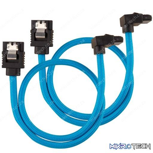 Corsair Premium Sleeved SATA 6Gbps 30cm 90° Connector Blue SATA Cable