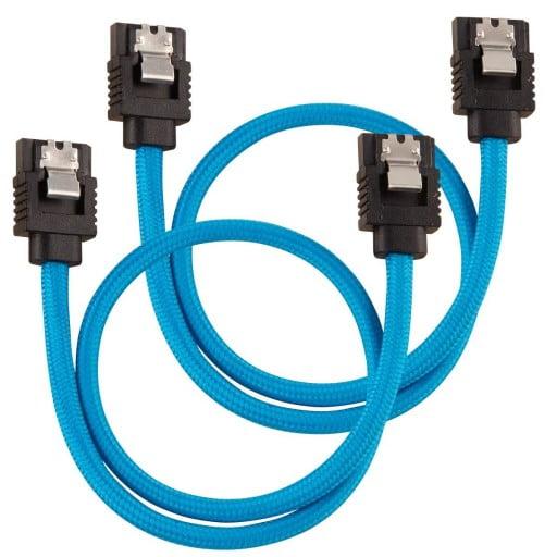 Corsair Premium Sleeved SATA 6Gbps 30cm Blue SATA Cable