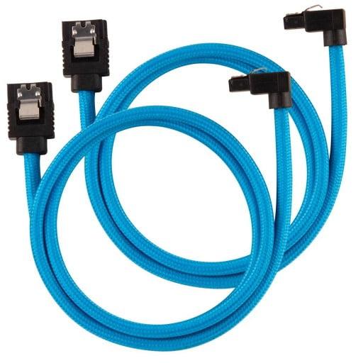 Corsair Premium Sleeved SATA 6Gbps 60cm 90° Connector Blue SATA Cable