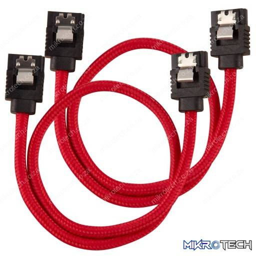 Corsair Premium Sleeved SATA 6Gbps 30cm Red SATA Cable