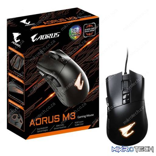 Gigabyte Aorus M3 RGB 6,400 DPI Optical Wired Gaming Mouse