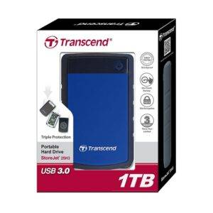 "Transcend 25H3B Series 1TB 2.5"" StoreJet Anti-Shock Blue USB 3.0 External Hard Drive"