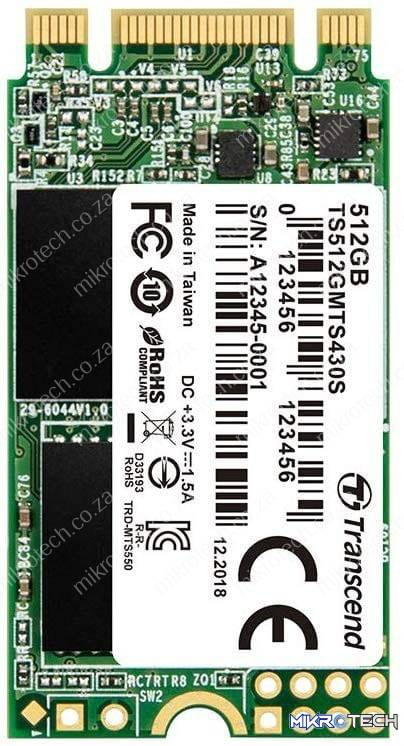 Transcend TS512GMTS430S 430s 512GB 3D NAND Flash SATA III 6Gb/s M.2 2242 Solid State Drive
