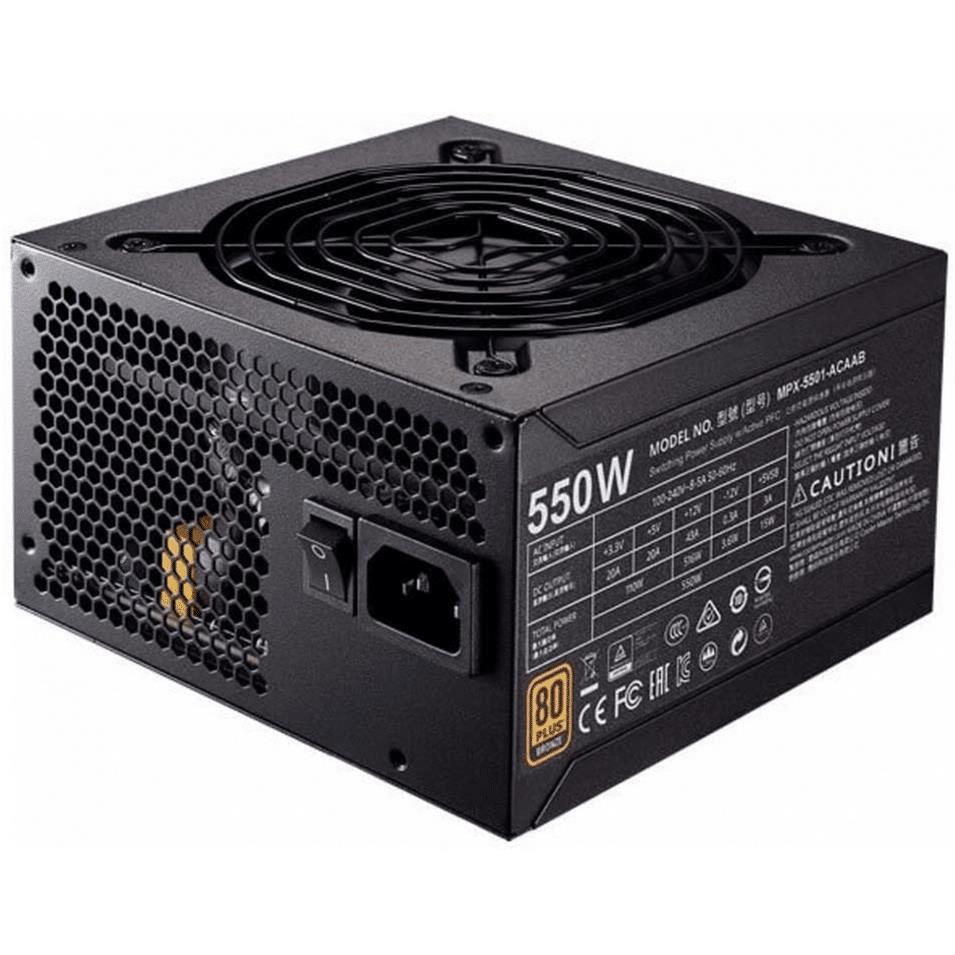 Cooler Master MWE 550 V2 80 PLUS Bronze 550W 20+4 pin ATX Black Power Supply MPE-5501-ACAAB-WO
