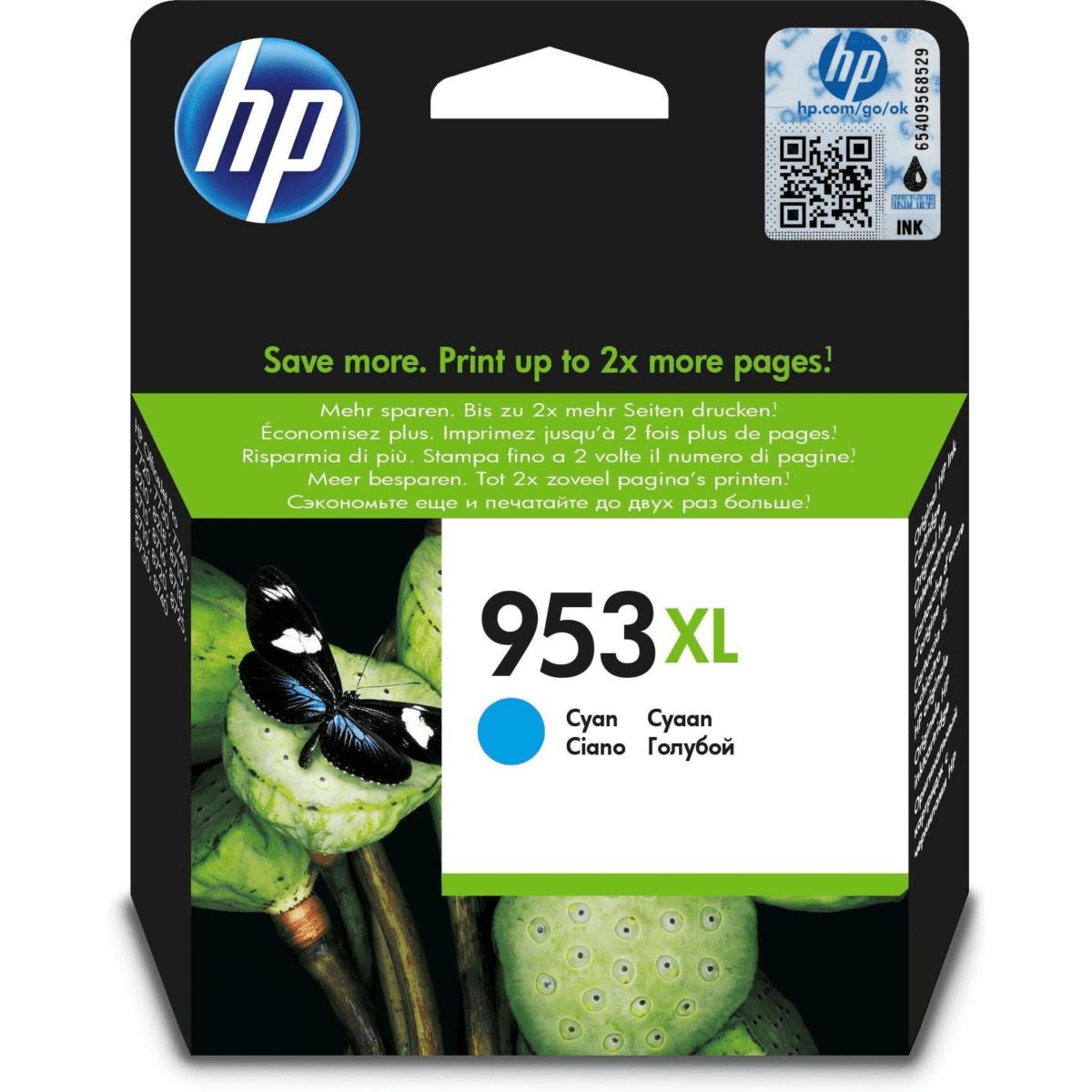 HP 953XL Cyan High Yield Printer Ink Cartridge Original F6U16AE Single-pack