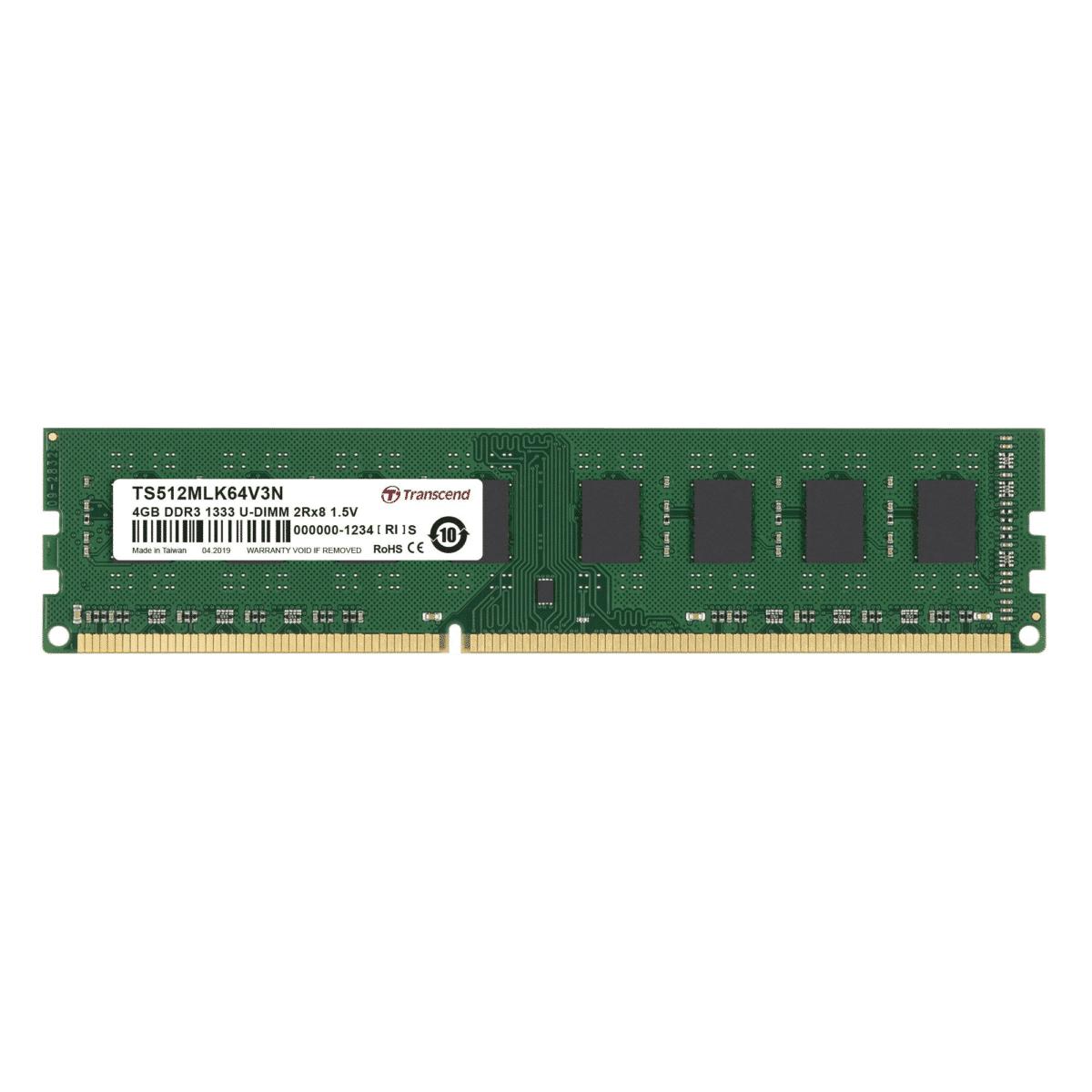Transcend DDR3-1333 U-DIMM 4GB TS512MLK64V3N